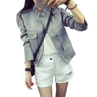 Wholesale Pink Leather Jackets For Women - Wholesale-Female Leather Suede Jacket For Fall Women Basic Jackets Autumn Ukraine Ladies Other Faux Leather Outerwear & Coats Waistcoat