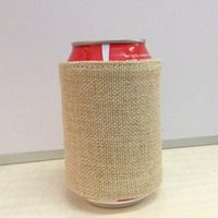 Wholesale Cool Gift Wrap - Burlap Bottle Wrap Wholesale Blanks Jute Can Cooler Gift for Wedding Decoration Free Shipping Via FedEx DOM106111