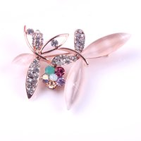 Wholesale Clear Rhinestone Crystal Dragonfly Brooch - New Fashion Ladies Girls Golden Plated Sparkling Clear Rhinestone Colour Class Crystal Stone Double Dragonfly Accent Brooch Pin for Weeding