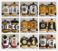 ccm vintage jerseys venda por atacado-Boston Boston Bruins 4 Bobby Orr Preto Vermelho Branco 75TH CCM Vintage Hóquei No Gelo Jerseys Barato Loja
