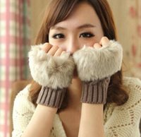 Wholesale ladies crochet gloves resale online - Wool Mixed Artificial Fur Ladies Unspecified Glove Knitted Crochet Winter Glove Warmer Evening Gloves MOQ pairs