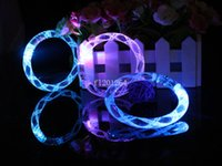 Wholesale Neon Acrylic Led - Free Shipping Acrylic flashing bracelet LED flash bracelet neon electronic Thread glow bracelets toys for party 500pcs lot