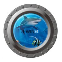 Wholesale Underwater Wall Murals - Underwater Window Wall Sticker For Ocean Animal and Shark Home Decorations Kids Rooms 2Styles New Design
