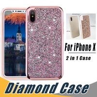Wholesale Premium Diamonds - 2 in 1 Luxury Premium Commuter Case Bling Diamond Rhinestone Glitter Cases Cover For iPhone X 8 7 6 6S Plus Samsung S8 S9 Plus note 8