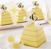 Wholesale Cute Baby Shower Favor Box - 100pcs Gold Cute Bee Candy Box Boxes For Wedding Party Baby Shower Favor Gift