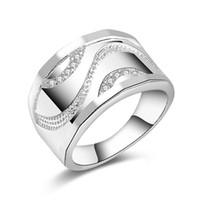 nouveaux bijoux tchèques achat en gros de-Livraison Gratuite Nouveau 925 Sterling Silver bijoux de mode Tendance Hommes Tchèque perceuse anneau vente chaude fille cadeau 1484