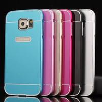 galaxy s5 metal tampon toptan satış-DHL Alüminyum Metal Tampon Çerçeve ile Arka PC 2in1 Slayt Sürgülü Kılıf Kapak Cilt Shell Samsung Galaxy S5 S6 Kenar G7200 G9250