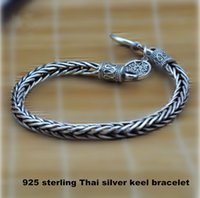 Wholesale Dragons Bracelet - Wholesale-Wholesale Genuine 100% Real Pure 925 Sterling Silver Men bracelet .dragon bone Men jewelry .free shipping fine jewelry HYB2