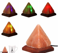 Wholesale Wooden Halloween Crafts Wholesale - Salt Lamp Table Desk Lamp Night Light Pyramid Crystal Rock Wooden Lamp Bedroom Adornment Home Room Decor Crafts Ornaments Gift LLFA