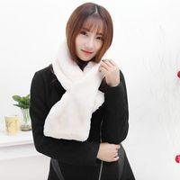 Wholesale Rex Gloves - Wholesale-Lovely Womens Rex Rabbit Fur Scarves Girls Natural Rabbit Fur Wraps Winter Fur Soft Muffler