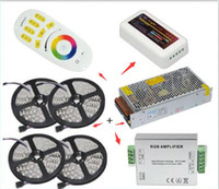 Wholesale Amplifier Rgb Dhl - DHL ship 20M 5050 RGB LED Strip Light 60Leds M Flexible Led Ribbon Tape + Wireless Touch Remote Controller+24A Amplifier+20 A Power