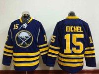 Wholesale Buffalo Logos - Mens Buffalo Sabres Hockey Jerseys 15 Jack Eichel Home Blue White Cheap Jack Eichel Stitched Jersey Embroidery Logo S-XXXL