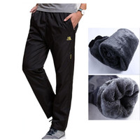 Wholesale thick sweatpants - Wholesale- New Winter Fleece Thick Pants Men's Outside Casual Heavyweight Pants Mens Warm Straight Waterproof Slim Fitted Sweatpants Pants