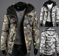 Wholesale Slim Fit Green Men - 2016 Free Shipping Men Camouflage Sports Drawstring Fit Warm Lapel Zip Up Long Sleeve Stand Collar Hoodie Pocket Coat Jacket