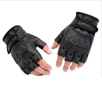 Wholesale Static Finger - 2015 New Listing Mens PU Leather Half-Finger Gloves Cycling Glove Anti-Static Slip Damping cycling glove Synthetic Leather