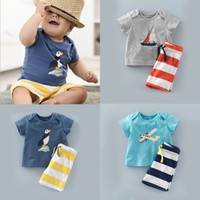 Wholesale baby boy leopard clothes online - Fashion baby boy summer clothes set T shirt striped shorts set baby clothing kids suit