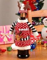ingrosso cappelli da cucina-Nuovo arrivo 2 pz / set Natale Coperture per vino rosso Coperchio della bottiglia Decorazione interna Antler Cappelli Tute Abiti Cucina Cena Natale