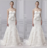 Wholesale Little White Dress Train - 2015 beach Unique lace bow Monique lhuillier sheer wedding dresses attire White cutout back Sheath Garden little train Wedding Gowns