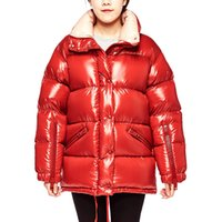 Wholesale Coat Woman Fur Inside - 2017 Brand New Parka Coat Women Thickened Light Down Puffer Jacket 90% Quilted Lined Overcoat Zip at Shoulder Inside Draw String Black Red