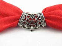 Wholesale Scarf Silver Tube - 12PCS LOT, Fashion DIY Jewellery Necklace Scarf Pendant Antique Silver Zinc Alloy Heart Design Slide Bails Tube, Free Shipping T2014-6
