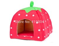 Wholesale Wholesale Dog Soft Houses - Fedex DHL Free Shipping Newest Soft Sponge Strawberry Dog Cat Pet Bed House Lovely Warm Doggy Kennel 3 colors,25pcs lot