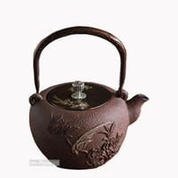 ingrosso vasi da tè in ghisa-Phoenix Peonia Giappone Ghisa Teiera Doppia Rame Lavoro manuale Kung Fu Teiera Bollitore Drinkware 1.3L Strumenti di cottura Arte Artigianato Regali