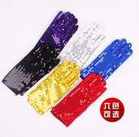 Wholesale sequin fingerless gloves - Wholesale-1127037 6 colors double side glitter sequin gloves jazz dance stage wear custome wholesale