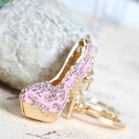 Lovely High-heeled Pink Shoe Car Keyring Crystal Rhinestone Charm Pendant Purse Bag Chaveiro de casamento Party Gift