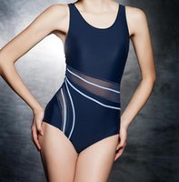 Wholesale Transparent One Piece Swimsuits - 2016 Sexy Transparent One Piece Swimwear For Women Patchwork Striped Swimsuit Sports Slimming Swimsuit Sexy Backless Bathing Suit
