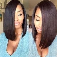 Wholesale front hair cut indian style for sale - 200 density virgin malaysian hair full wig bob style human hair bob cut lace frontal wig for black women natural color