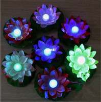 Wholesale Water Lanterns Wedding - New Arrive Diameter 19 cm LED Lotus Lamp in Colorful Changed Floating Water Pool Wishing Light Lamps Lanterns for Party Decoration
