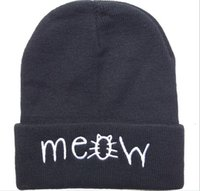 Wholesale High Street Mens Fashion Wholesale - 4 new styles meow Beanie hats Black grey solid high quality mens or women winter knitted most popular sports caps new arrive Free shipping