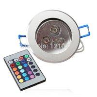 Wholesale Bulb Rgb Rc - Wholesale-3W RGB 16 Color Change LED Bulb Ceiling Spotlight Down Recessed With RC TH88 ES8