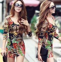 kıyafet hitz toptan satış-2015 Kadınlar Kore Hitz Seksi Kadınsı Renk Render Kalça İnce Sıkı Elbise Seksi Kulübü Baskı V Yaka Tam Elbise A014