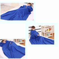 Gros-1.8 * 2M Polyester Fleece Supper chaud Blanket Fleece Snuggie Manta Robe Cape avec manches
