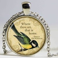 Wholesale Fashion Poems - Emily Dickinson poems necklace quotes pendant Victorian England jewelry Fashion 27MM Round Pendant Punk Choker Necklace
