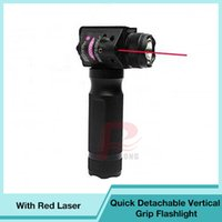 Wholesale red gun laser - Quick Detachable Vertical Grip Flashlight ForeGrip With Red Laser Sight Fit 20mm Rail For Gun Hunting RL8-0009