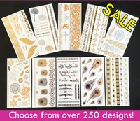Wholesale Sexy Hot Belly - 10pcs lot High Quality Waterproof Tattoos Flash Metallic Tattoos Non-toxic Temporary Tattoos Hot Sale Sexy Jewelry Tattoo!