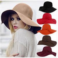Wholesale Winter Felt Hats For Women - 2016 Vintage Women Hats Wool Felt Hat Graceful Infinity Fedora Floppy Cloche Wide Brim Bowknot Church Hat Caps for Ladies