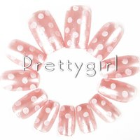 Wholesale Fake Nails Girls - Wholesale-2706 French Candy color Nude Dot Pattern False Nail Pink Nail tips Fake Nails Tips For Girls beauty