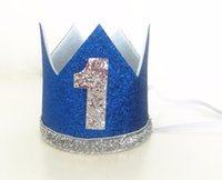Boy Blue Silver Primeiro aniversário Hat Girl Gold Pink Priness Crown Número 1 2 3 Year Old Party Hat Glitter Birthday Headband