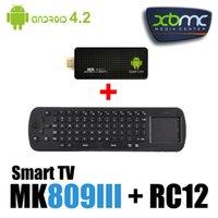 Wholesale Rc12 Rk3188 - Wholesale-MK809III TV Box Andriod 4.4.2 Quad Core Mini PC 2G RAM 8G RK3188 Bluetooth TV BOX Wifi + Russian Keyboard RC12 air mouse