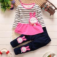 Wholesale Flannel Baby Clothes - Baby Cothes Kids Suit Girl Rabbit Top +Rabbit Pants 2pcs set Kids clothes 100% cotton 3 colors free shipping