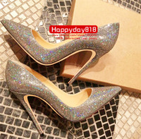 Wholesale thin wedding dresses - Free shipping fashion women shoes Glitter sequined Point toe thin heels High Heels Pumps Stilettos Shoes For Women 120mm