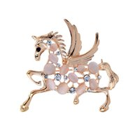 Wholesale Rhinestone Horse Brooch - 2016 Free Shipping New Fashion Jewelry Big Crystal Brooches Wholesale Fly Horse Brooches For Women Girls