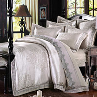 Wholesale King Sized Silk Sheet Sets - Gray Embroidery Satin Silk Jacquard Bedding Set Home Textile 4pcs Luxury bedclothes bed linen sheet set cotton queen king Size