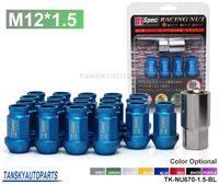Wholesale Lug Nuts Wheel Locks - Tansky - 20PCS For HONDA ACURA CIVIC INTEGRA JDM D1Spec BLUE Racing Wheel Lug Nuts M12 X1.5MM With Lock TK-NU670-1.5-BL