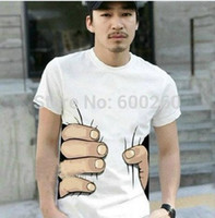 Wholesale Wholesale Clothes For Big Men - Wholesale-Summer Hot Sale Cool Fashion Men's Clothing O-neck Short Sleeve Men Shirts 3D Big Hand T Shirt men Tshirts Tops Tees For Man