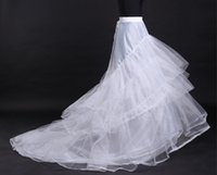 Wholesale Long Train Underskirt Bridal - Cheap White tulle Wedding Dresses Petticoat Train Petticoats 3 Hoops 4 Layers A-line Long Train Dress Underskirt Bridal Gown Crinoline