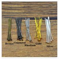 Wholesale Head Pins Diy - Wholesale-200pc lot 45mm Metal Flat Head Pins Needles Bronze Rhodium Gold Silver DIY Jewelry Findings Making Accessories Y702